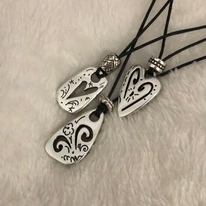 Brighton triple strand necklace with silver hearts